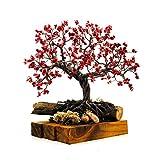 árbol artificial decorativo tipo bonsai japones con coral rojo artesania mexicana hecho a mano