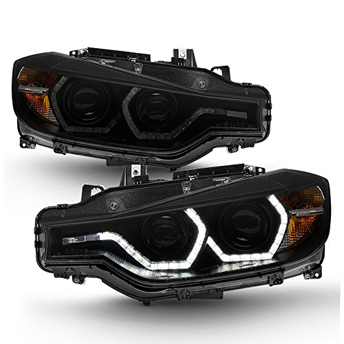 ACANII - For Black Smoke 2012-2015 BMW F30 328i 335i Sedan LED 3D DRL 2 Projector Headlights Headlamps Driver+Passenger Bmw 320i Headlight Assembly