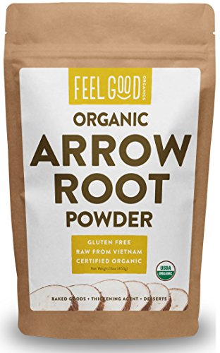 Arrowroot Powder - Organic Arrowroot Powder (Flour) - 1 Pound Resealable Bag (16oz) - 100% Raw From Vietnam - by Feel Good Organics