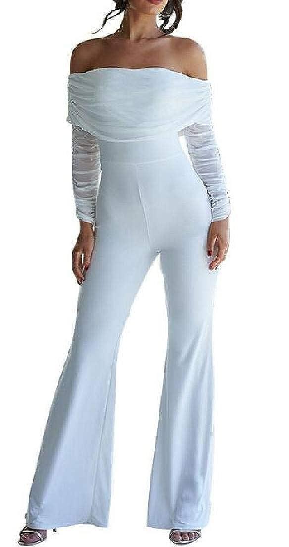 Zantt Womens Mesh Stitching Off Shoulder Long Sleeve Jumpsuit Romper