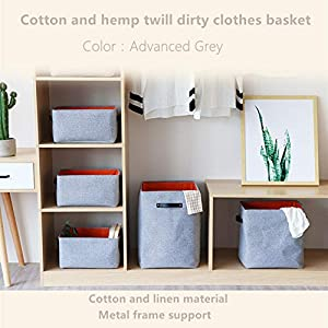 Hoomzia Cotton Linen Laundry Basket Dirty Clothes Hamper Organizer Collapsible Fabric Detachable Brackets Laundry Storage Basket for Dorm Room, Kids Toy Storage, Baby Blanket (L-61.25L)