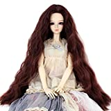 Long Kinky Curly 9-10inch 1/3 BJD MSD DOD Dollfie Doll Hair Wig Centre Parting Hair Accessories Not for Human (dark brown)