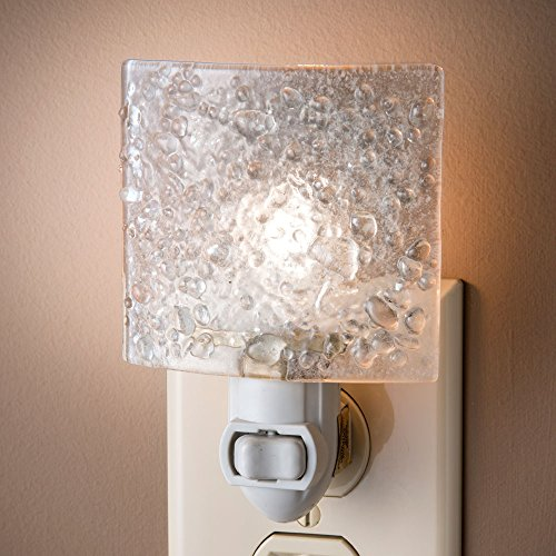 Light Gray Crystal (J Devlin NTL 155 Fused Clear Chips Glass Night Light Decorative Modern Home Accent)
