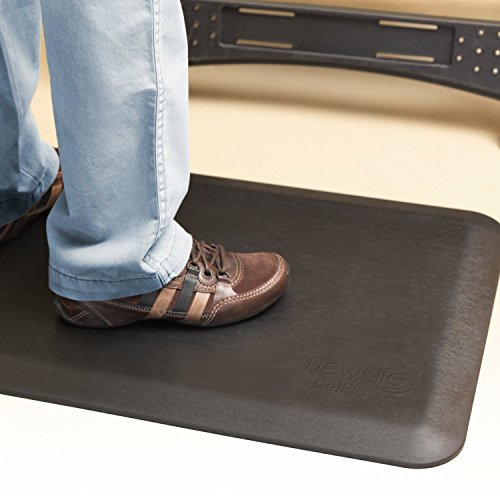"""NewLife by GelPro Anti Fatigue Mat: Eco-Pro Foam Anti-Fatigue Comfort Mat - Standing Desk Pad - Professional Floor Mats for Commercial & Industrial Work - 20"""" x 32"""" Non Slip Ergonomic Mat - Black by NewLife by GelPro (Image #1)"""