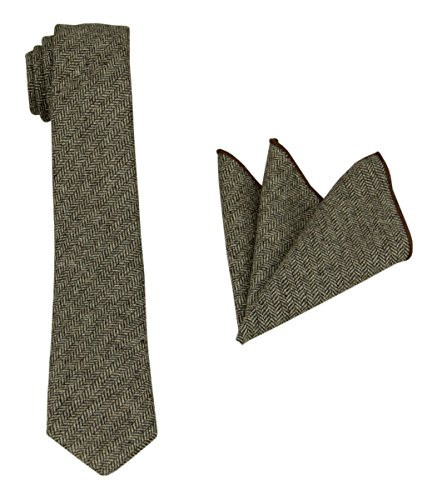 Brown Square Neck (Mens Herringbone Wool Tie Set: Necktie with Matching Pocket Square (Brown))