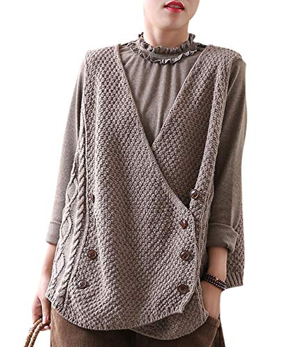 (YESNO YY8 Women Fashion Casual Knit Sweater Vest Deep V Neck Double Breasted Front Crossing Higher Back Asymmetric Loose Swing Hemline)