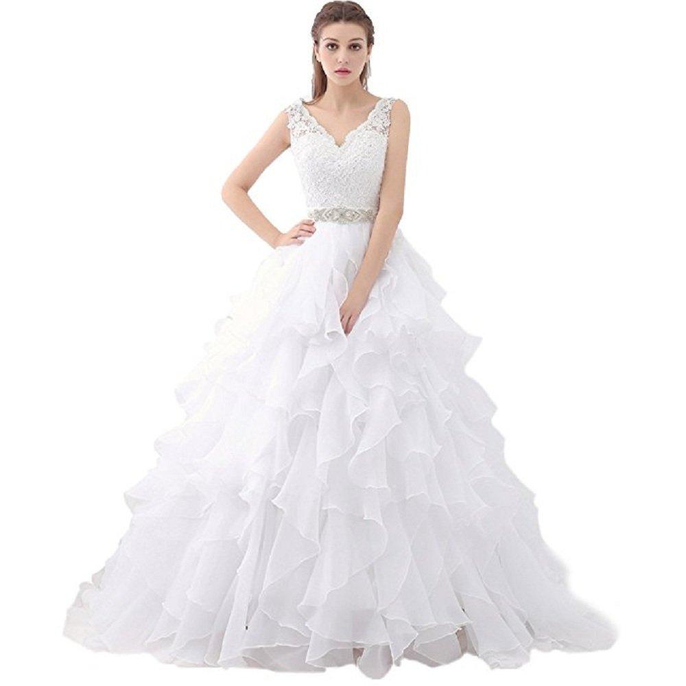 Schatz V-Ausschnitt Rüschen Organza Brautkleider für Braut Kleid ...