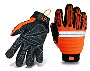 Boss 1JM500L Large Mechanics Style Miner Gloves in High Visibility - Pack of 6