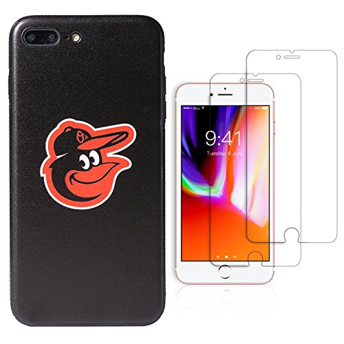 "Sportula MLB Phone Case matching 2 Premium Screen Protectors Extra Value Set - for iPhone 7 Plus/ iPhone 8 Plus (5.5"") (Baltimore Orioles) - Baltimore Orioles Case"