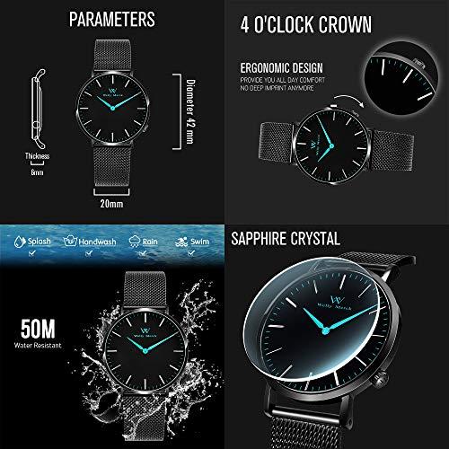 Welly Merck Swiss Movement Sapphire Crystal 42mm Men Luxury Watch Minimalist Ultra Thin Analog Wrist Watch 20mm Stainless Steel Mesh Band,Father's Day Gift