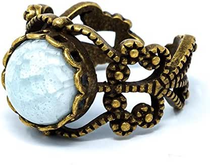 I's Fashion Vintage Style Antique Brass Tone Porcelain Round Bead Women's Adjustable Ring