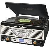 Trevi TT-1062E Chaîne hifi stereo vintage avec platine vinyle (ports USB-SD, encodage direct de MP3, haut-parleurs intégrés) - noire