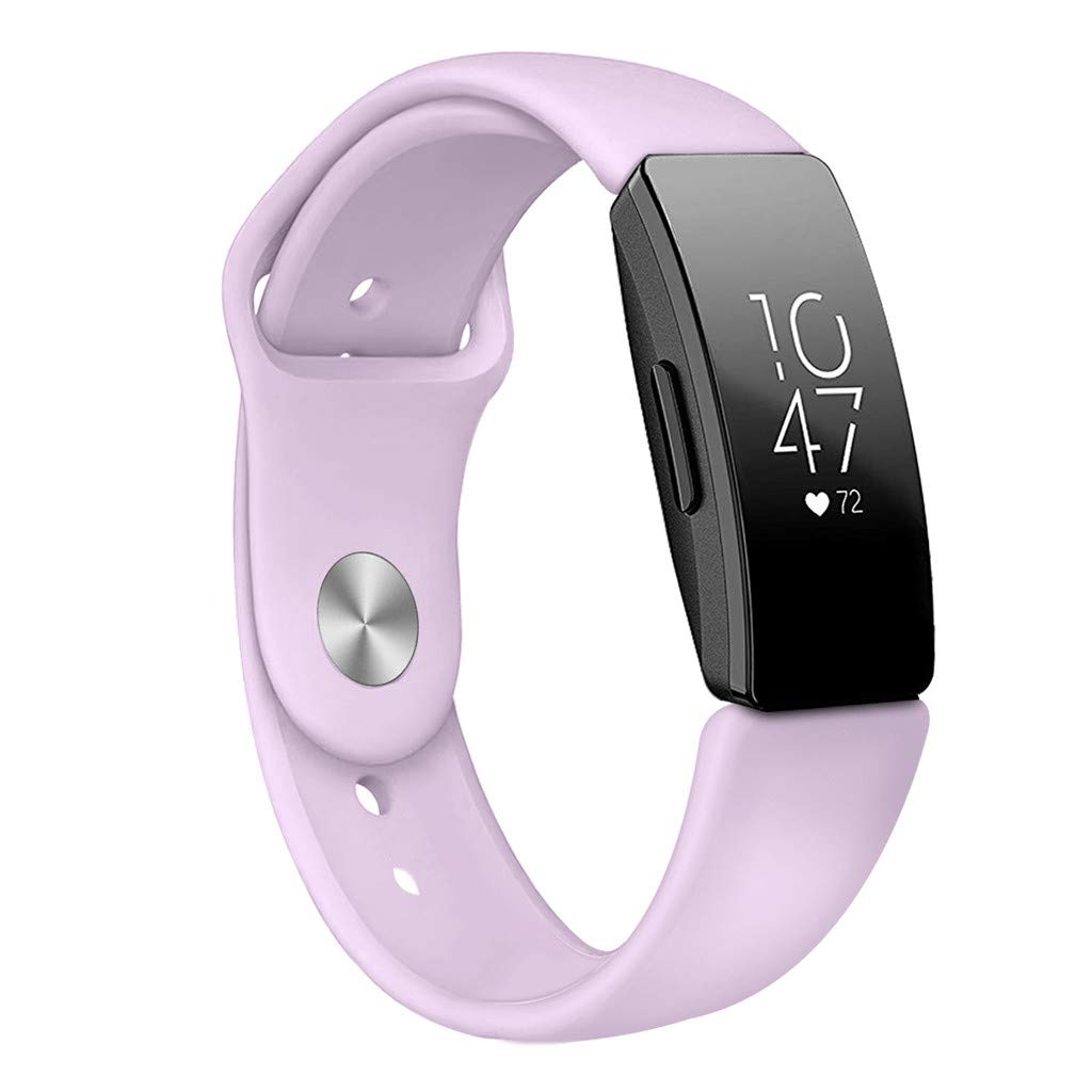 Pure Color Soft Comfortable Sports Silicone Bracelet Strap Band for Fitbit Inspire/Inspire HR (Purple)
