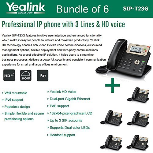 Yealink SIP-T23G, 3 Lines HD Professional VoIP Phone, 3SIP Accts, 3way conf., dual port Gigabit, PoE, BUNDLE of 6 by Yealink
