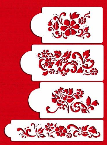 Designer Stencils C433 Floral Explosion Set Cake Stencils, Beige/semi-transparent