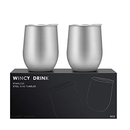 62fbf36705a 12 oz Wine Tumbler with Lid, Stemless Wine Cup, Double Wall Vacuum Insulated  Wine