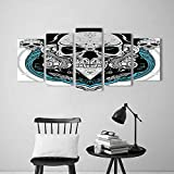 Wulian Painting Combination Frameless Artistic Embellished Evil Dead Head Skeleton Leaf Details Gothic Mexican Grey White Blue Restaurant Bedroom Painting