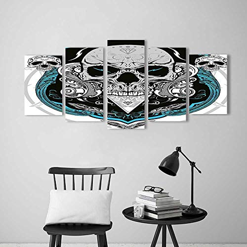 Wulian Painting Combination Frameless Artistic Embellished Evil Dead Head Skeleton Leaf Details Gothic Mexican Grey White Blue Restaurant Bedroom Painting by Vanfan