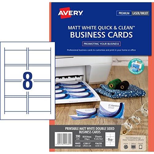 Delicate Avery 200 Cartes De Visite Bords Lisses 260g