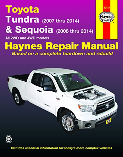 - Toyota Tundra (2007 thru 2014) & Sequoia (2008 thru 2014): All 2WD and 4WD models (Haynes Repair Manual)