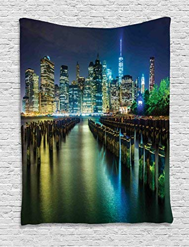 New York Tapestry Wall Hanging, Pier Pilings and Manhattan Skyline at Night Downtown Urban East RiverWall Art Tapestries for Home Bedroom Living Room Dorm Decor, 60WX80L Inches, Dark Blue Green -