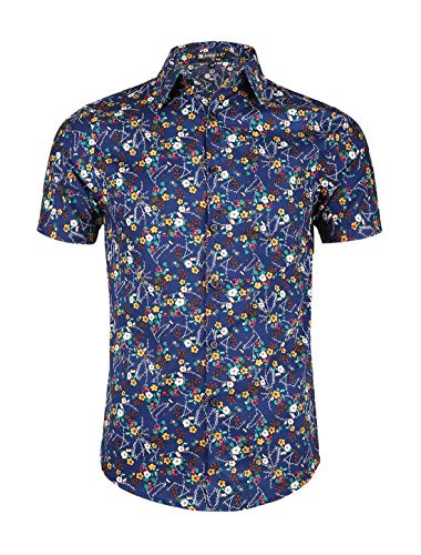 uxcell Men Button Down Short Sleeve Floral Print Cotton Beach Hawaiian Shirt Dark Blue L(US ()