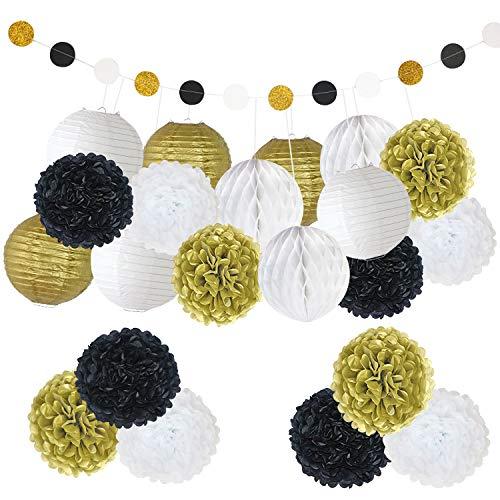 Party Decoration Favor Supplies Kit BCopter Tissue Pom Poms Paper Flowers Ball Tissue Tassel Lanterns Black Gold White Circle Garland Hanging Craft Set, Bridal Birthday Baby Showers Wedding