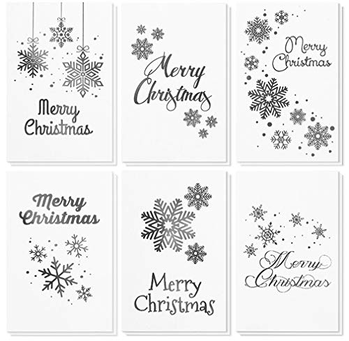 - 48-Pack Merry Christmas Greeting Cards Bulk Box Set - Winter Holiday Xmas Greeting Cards in 6 Silver Foil Designs, Envelopes Included, 4 x 6 Inches
