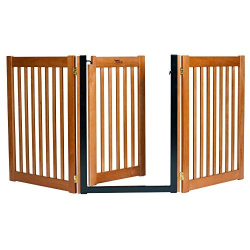 32'' Highlander - 3 Panel Walk Through Free Standing Wood Pet Gate - Artisan Bronze