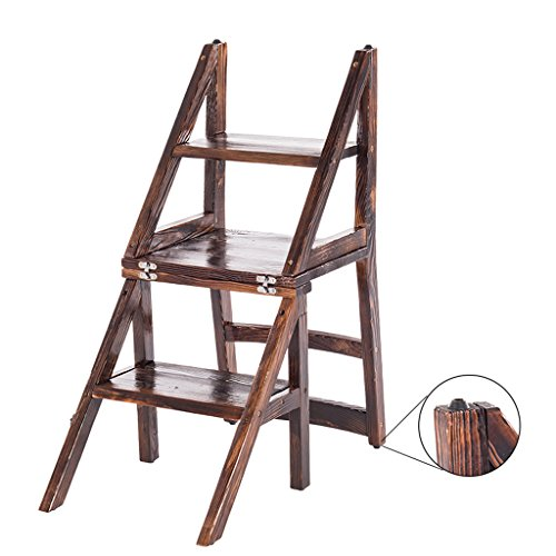 ALUS- 3 Layer Solid Wood Home Multi-Function Kitchen Interior Back Dining Chair/Folding Staircase Chair/Stool Solid Wood Chair/Ladder Stool/Wooden Ladder