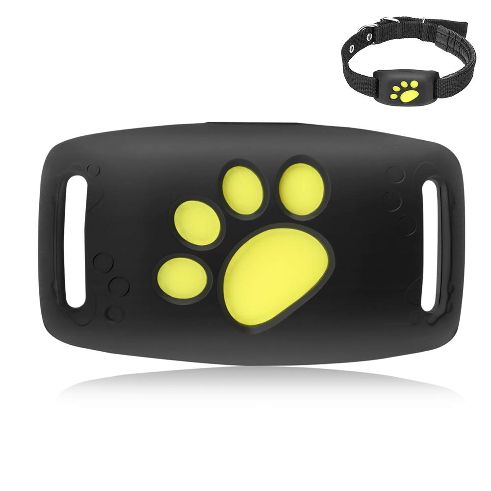 Pet Mini GPS Tracker Dogs, Cats Activity Tracker Positioning Anti-Lost Device Real Time Locator Finder Waterproof Adjustable Collar Free APP Black