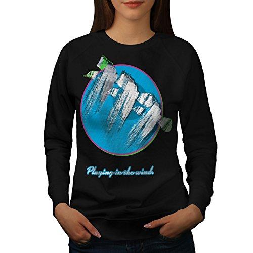 (wellcoda Playing Wind Birds Womens Sweatshirt, Sea Gull Pullover JumperBlack XL)
