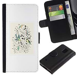 KingStore / Leather Etui en cuir / Samsung Galaxy S5 V SM-G900 / Diseño floral de primavera blanca minimalistas Birds