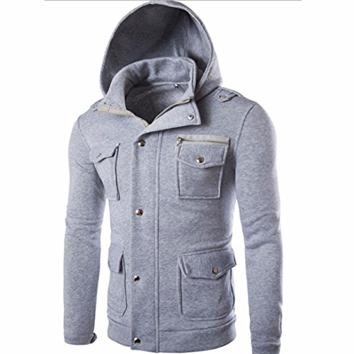 Forthery Men's Long sleeve Zip-Up Casual Fleece Hoodie Coat Sweatshirt Jacket (Tag L= US M, Gray) - Supreme Beauty Queen Costume