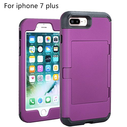 Price comparison product image iphone 7 Plus case,TOPBIN [Cosmetic Mirror] & [1 Card Slots] Hard PC+ Soft Silicone [3 in 1] Anti-Scratch Hybrid Full-Body Dual Protective Case for Apple iphone 7 Plus case (Purple)
