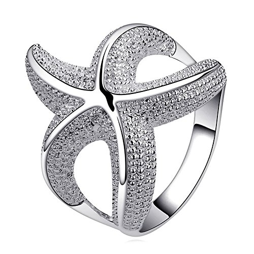 925 Sterling Silver Large Shiny Curvy Detailed Starfish Wrap Around Fashion Band Ring (Wrap Around Dolphin)
