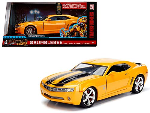 StarSun Depot 2006 Chevrolet Camaro Concept Bumblebee Yellow from Transformers Movie Hollywood Rides Series 1/24 Diecast Model Car Jada Metals