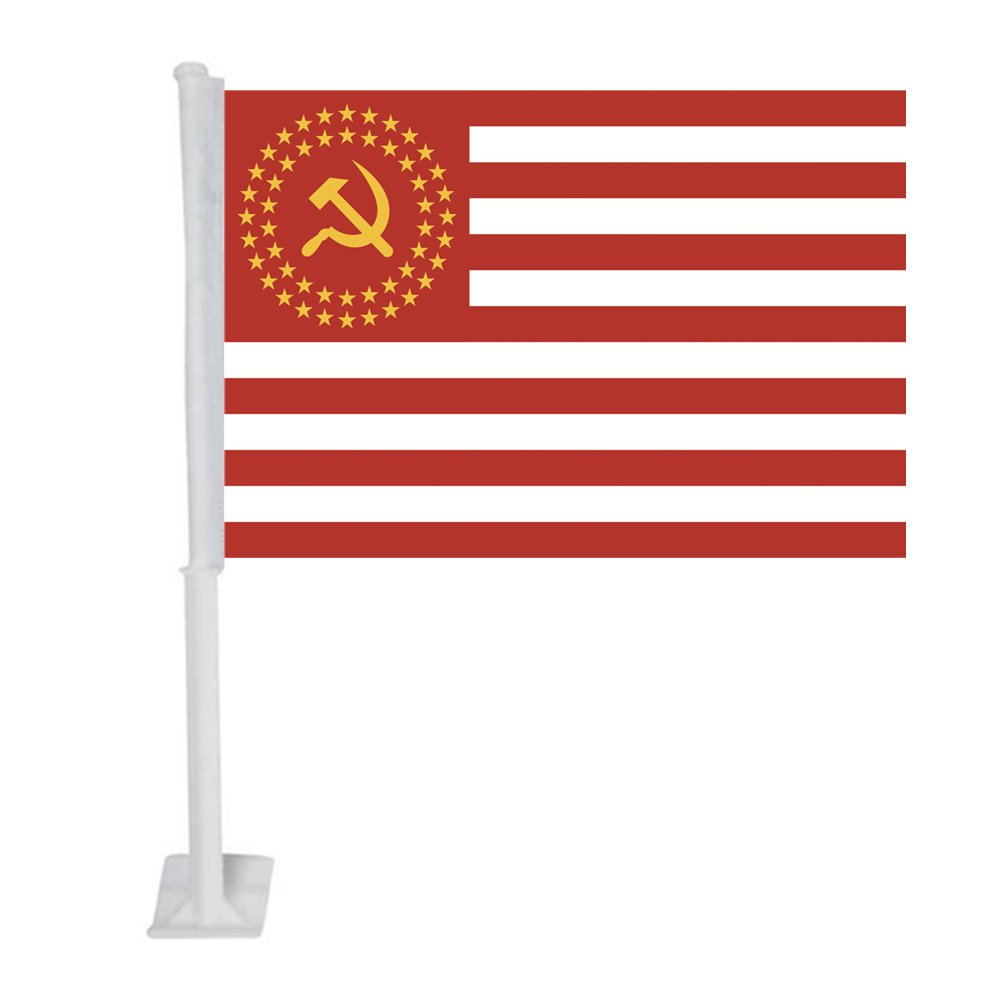APFoo United Socialist States of America 50 stars Car Window Flag With pole 12x18inch