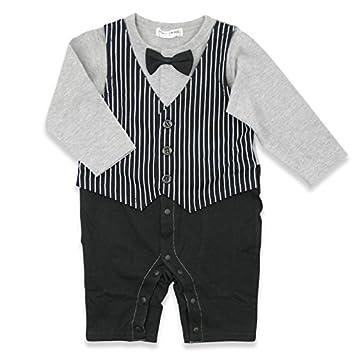 fcb59946d0a29 ベビー 子供服 フォーマル 男の子 カバーオール ロンパース タキシード風 グレー 70cm 20661406GY70