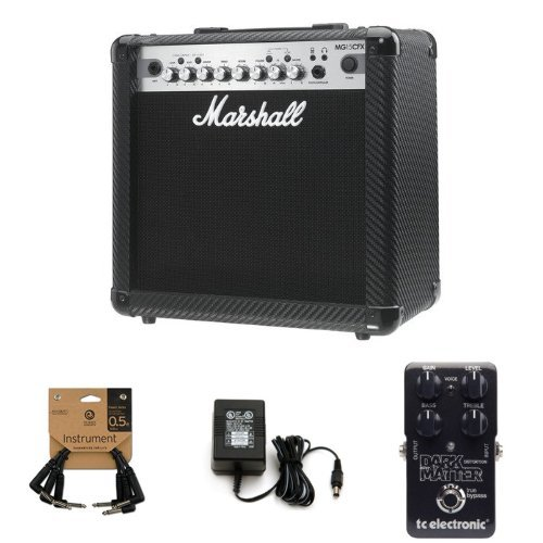 Marshall MG4 Carbon Series MG15CFX 15 Watt Guitar Combo Amplifier Bundle with Instrument Cable, Power Adapter, and TC Electronic Dark Matter Distortion Effect Pedal by Marshall Amps