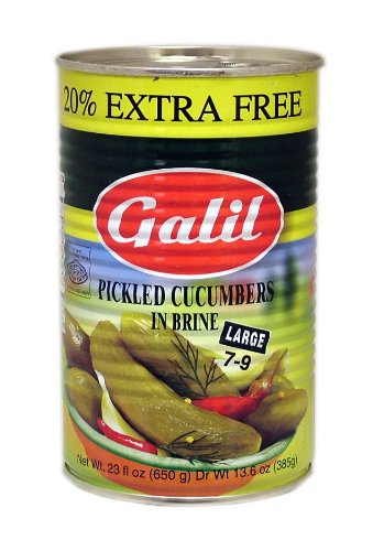 Galil Pickled Cucumbers in Brine, (Large 7-9) + 20% Extra, 23-Ounce Cans (Pack of 12)