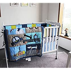 NAUGHTYBOSS Boy Baby Bedding Set Submarine Car Dog Rockets Quilt Bumper Mattress Cover 7 Pieces Blue