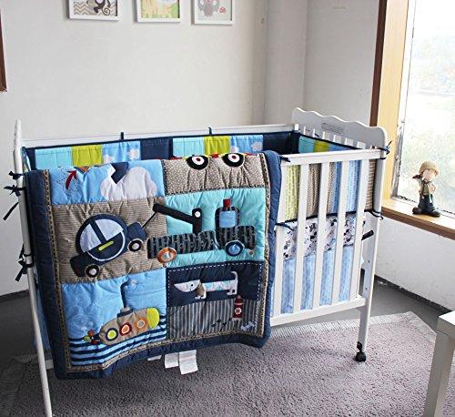 NAUGHTYBOSS Boy Baby Bedding Set Cotton 3D Embroidery Submarine Car Dog Rockets Quilt Bumper Mattress Cover 7 Pieces Blue by NAUGHTYBOSS