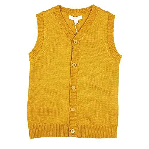 Mini Phoebee Boys' V-Neck Button Front Merino Wool Blend Cardigan Sweater Vest 5T Yellow