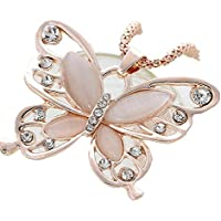 Clearance! Napoo Fashion Hot Women Lady Rose Gold Opal Butterfly Pendant Necklace Sweater Chain
