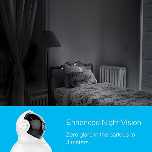 YI Dome Camera Pan/Tilt/Zoom Wireless IP Indoor Security Surveillance System 720p HD Night Vision, Motion Tracker, Auto-Cruise, Remote Monitor with iOS