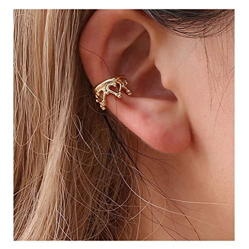 (KISSFRIDAY Golden Crown Punk Rock Metal Ear Bone Clip Ear Hook Cuff Clip Jewelry No Ear Hole)