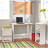 Simple Living Soho Multi-purpose 3-piece Ample Storage to Keep and Organize in Engineered Wood Construction White Finished Study Set
