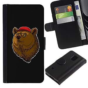 """Be-Star la tarjeta de Cr¨¦dito Slots PU Funda de cuero Monedero caso cubierta de piel Para Samsung Galaxy S5 V SM-G900 ( Retrato del oso de Brown Animal Bosque Gafas de Red Hat"""" )"""