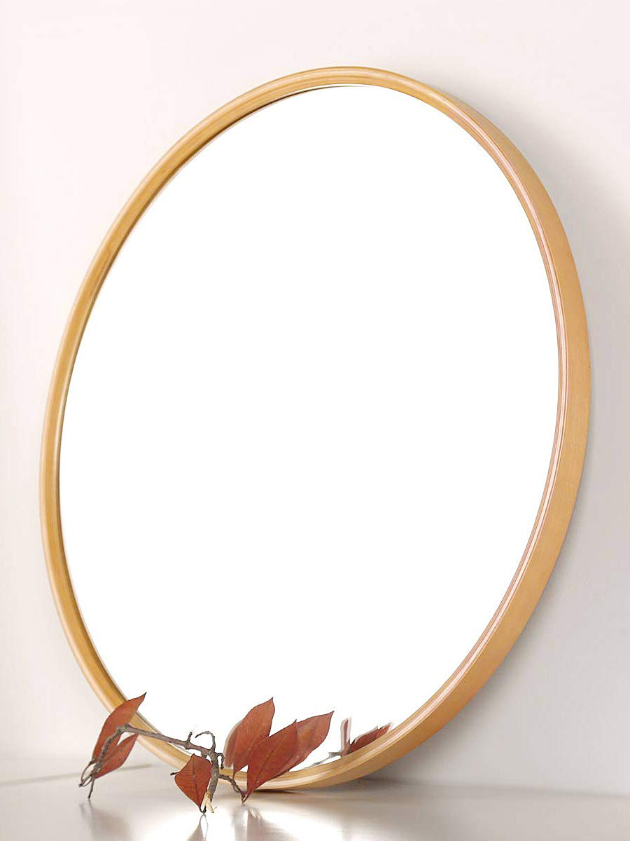 TinyTimes Large Round Mirror, Round Vanity Mirror, Wooden Frames Mirror, Clean, Wall Decor, for Washrooms, Living Rooms, Bathroom, Corridor, 27.56-Inch Round Wall Mirror (More Large, Natural)
